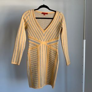 WOW Couture Yellow and Silver Long Sleeve Dress